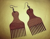 Afro Pick Wooden Laser Cut Earrings