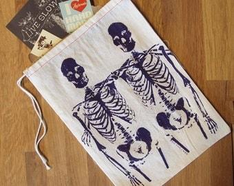"""GIFT BAG / 8x11"""" - SKELETONS  Hand Printed Drawstring Reusable Cotton Bag"""