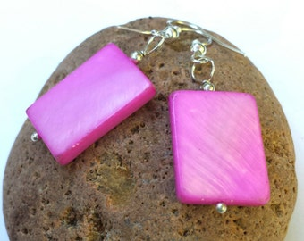 Hot pink earrings, geometric jewelry, shell earrings, mother of pearl, handmade earrings