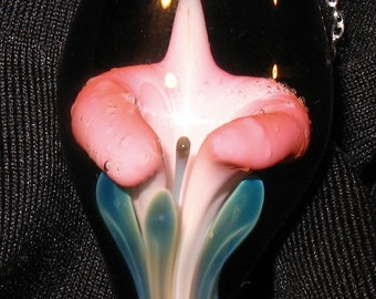 Pink Calla Lily Blown Glass Pendant- Contemporary Glass Art Necklace