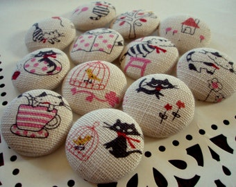 Black Cat Buttons - Large Fabric-Covered Buttons - French Cat Fabric Buttons - Covered Buttons