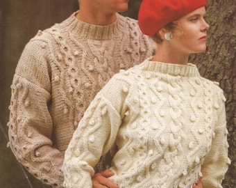 "PDF Knitting Pattern Ladies/Mens Aran Patterned Jumper Size 34 to 42"" (X)"