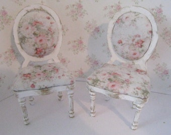 Miniature Chairs, two Tatty Chic chairs, dollhouse chairs, distressed chairs, Twelfth scale dollhouse miniature