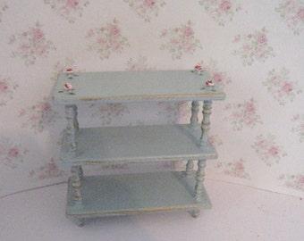 Dollhouse shelf, duck egg blue, gold brushings, hand painted, tiered shelf, shelf, dollshouse shelf  ,  ,Twelfth scale ,dollhouse miniature
