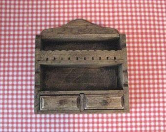 Dollhouse Kitchen shelf, shelf,  dark oak,  country, twelfth scale, dollhouse miniature