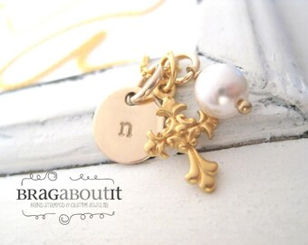 Hand Stamped Personalized Necklace -  14K Gold Cross Jewelry - Little Charmer (Cross)