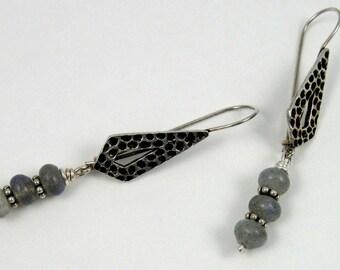 Labradorite Arrows Earrings, gemstone beads on fine silver textured diamonds