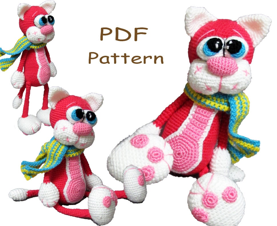 Crochet toy Amigurumi Pattern Cherry Cat