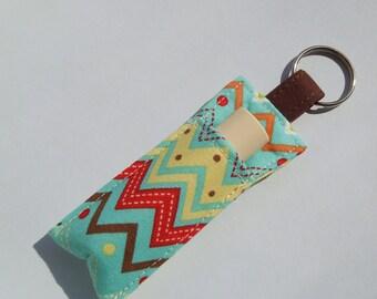 Chap stick Holder, Lip Balm key chain, chapstick case, lip stick, Lipbalm case cozy- Multi Chevron