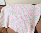 hand knit baby blanket, pink baby blanket, baby girl blanket, knit baby afghan, knit fleece blanket,newborn girl blanket,infant girl blanket