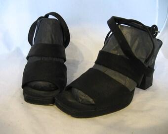 Cordelia - vintage black satin chunky heels 9M