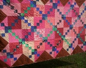 Hand Quilted Pink and Blue Throw Quilt