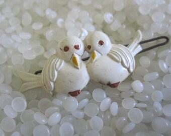 vintage  hair barrette cuddle  white  birds