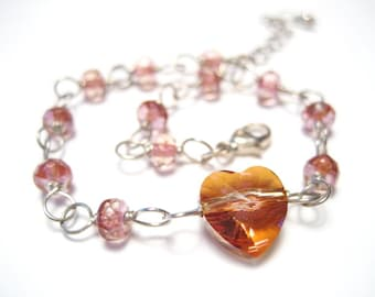 Glass Heart Pink Champagne Sterling Silver Bracelet 7 to 8 inches