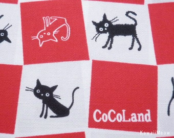 CoCoLand Fabric - Check Cats on Red - Half Yard - (no140127)