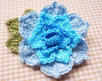 Crochet Kawaii Corsage Brooch - Rose Blue -