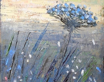 Rural Painting, Small Oil Landscape, Daily Painting, Queen Ann's Lace by Carol Schiff, 6x12x.75""