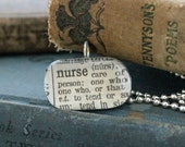 Vintage dictionary, pendant necklace, Nurse