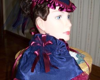 Ladies Civil War Hat Fascinators Navy Blue and Burgundy Satin Victorian  teardrop hat and Reticule to match