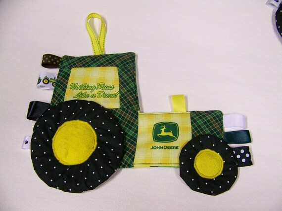 Tractor Sewing Pattern : Green tractor pattern for teething toy deere fabric