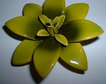 Vintage Enamel Chartreuse Greene Brooch  Unique Floral Water Lily