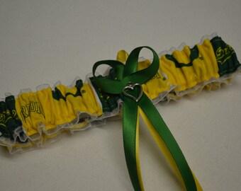 Handmade wedding garter toss OREGON DUCKS wedding garter