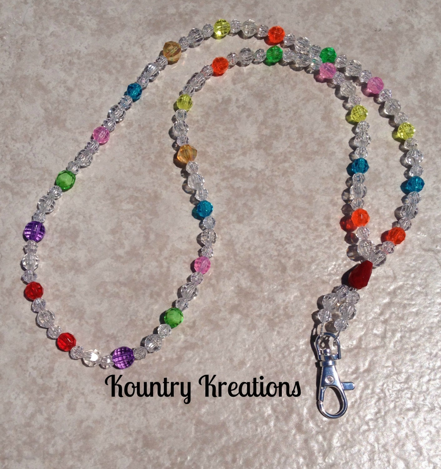 beaded lanyard id badge holder mulit and by
