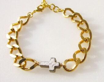 Sideways cross friendship bracelet gold chunky chain fashion bracelet stackable stone bracelet