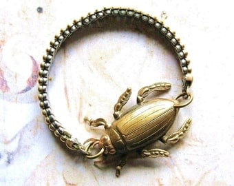 Beetle Bracelet - Antiqued Gold Tone Vintage Watch Strap Bracelet with Beetle Bug