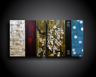 Abstract Painting Modern Painting THE RAW CANVAS Wall Art Modern Art OriginalContemporary Painting Blue green Red White blossoms 24 x 48