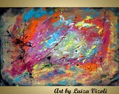 """on SALE Abstract 36"""" Painting Large Canvas ready to hang, Summer Rain, One of a kind Artwork"""