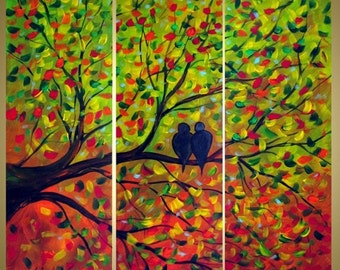 Journey Original Modern Contemporary Whimsical Birds Tree Fall Landscape Painting Triptych Oil Art by Luiza Vizoli Custom