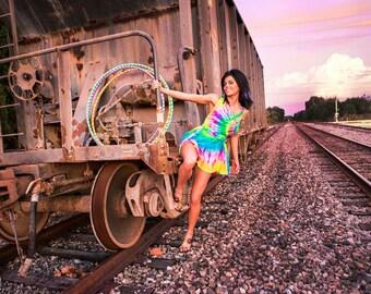 Rainbow Silk Flow Dress