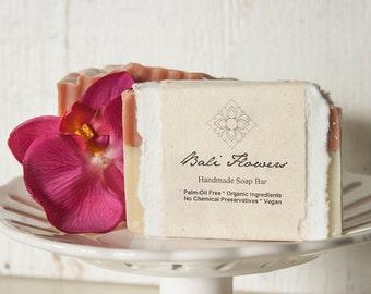 Bali Flowers - Palm Oil Free Soap, Vegan, Certified Organic Oils, Tropical Blend of Magnolia, Jasmine, Plumeria, Orchid, Hibiscus