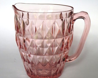Windsor Diamonds Pink Depression Glass Water Pitcher 1930's Jeannette Glass