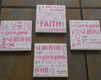 Breast Cancer Awareness Coasters - Set of Four, Pink and White, Fight Like A Girl, Breast Cancer Gift, Think Pink, Breast Cancer Survivor