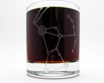 Orion | Constellation | Etched Whiskey Glass | Space | Nebula | Galaxy | Astronomy Gift | Rocks Glass