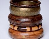 Wood, gypsy, tribal, boho, natural, bangle stack, bracelet: Renegade Icon Designs