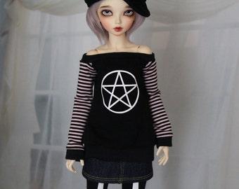 Minifee BJD Pentacle Goth Shirt, MNF Black Shirt 1/4 Size Doll Clothes