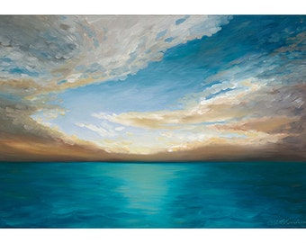 5x7 Greeting Card by Daina Scarola, Item #GC5X7-27 (beach, summer, sunrise, clouds, ocean, seascape)