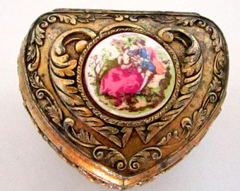 Vintage Ring Box Heart Jewelry Box Gold with Victorian Porcelain Scene