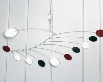 Calder Inspired Mobile, Zen Mobile, Relaxing Art, Black, White, Red, Low Ceiling Mobile, Kinetic Art, Mobile Sculpture, Gift of Art