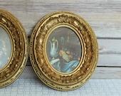 Pair of Ornate Gold Italian Miniatures