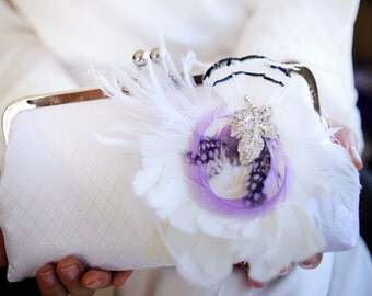 White and lilac Bridal Clutch with Rhinestone Feather Brooch 8-inch PASSION