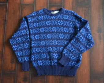 SALE // Size M // SNOWFLAKE SWEATER // Navy Blue - Patterned - Knit Pullover - Cotton Jumper - Vintage '90s.