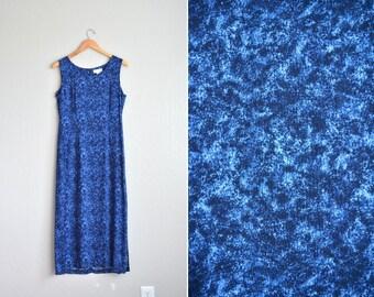 vintage '90s blue & black MARBLE DYE sleeveless TANK summer maxi dress. size m l.