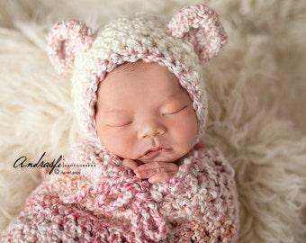 Snuggle Sack, Swaddle Sack, Cuddle Sack, Stretch wrap, Newborn Photo prop, Pink Parfait, Newborn photo prop, snuggle bag