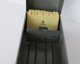 Industrial Metal Office File Box with file cards