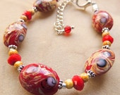 Lampwork Bead Bracelet, Red and Purple, Handcrafted Jewelry, Lampwork Jewelry, Gift under 25, Lampwork Jewelry,  Beaded Bracelet, OOAK