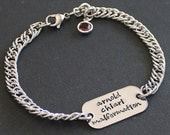 Medical Alert Oblong Bracelet - stainless steel bracelet and 1 sided disc - Swarovski channel crystal or round pearl dangle - size choice